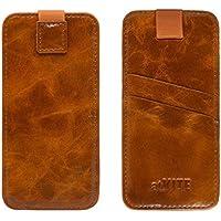 atKITE – Custodia a portafoglio in vera pelle con tasca per iPhone 6 / 6S - Marrone