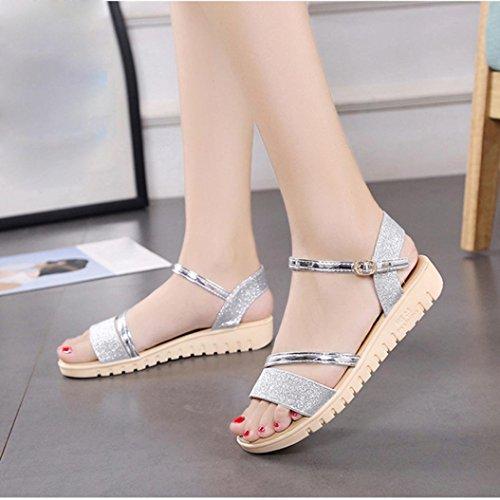 ... Damen Schuhe,Sannysis Frauen Sandalen Plattform Schuhe flache Schuhe  Silber ...