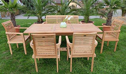 Edle TEAK XXL Gartengarnitur Gartenset Sitzgruppe Gartenmöbel Ausziehtisch 150-200cm + 4 Sessel + Gartenbank 'ALPEN' Holz geölt von AS-S - 3