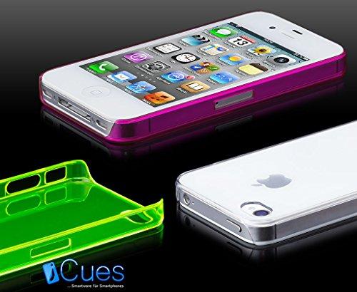 iCues Apple iPhone 4/4S |  Ultra Slim Case Schwarz | [Display Schutzfolie Inklusive] Extra Leicht sehr Dünn Transparent Klarsichthülle Durchsichtig Klare Klarsicht Schutzhülle Hülle Cover Schutz Red