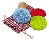 Juego de sellos para galletas–3–Sello de silicona con sellos de soporte de madera y algodón bolsa Guardar–Regalo perfecto para Advent Tiempo. Galletas sello en bolsa