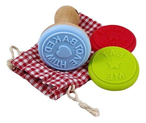 Charming Boxes Keksstempel-Set - 3 Stempel aus Silikon mit Holz-Stempelhalter & Baumwollbeutel zur Aufbewahrung - Tolles Ostergeschenk! Plätzchenstempel im Beutel