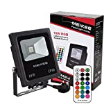 RGB Flood Lights, 10w Colour Changing LED Security Lights, MEIKEE Outdoor Waterproof Floodlight, RF-Wireless Dimmable 16 Colours remote control, UK 3-Plug, Security lights, Patio Lights, Wall Washer [Energy Class A+]