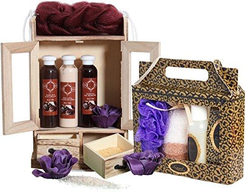 BRUBAKER Set da bagno Wellness SPA in piccolo cabinet di legno da 15 pezzi - Cioccolato e Vaniglia - Confezione regalo