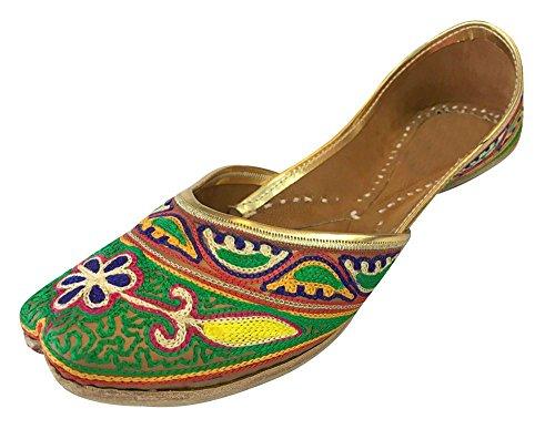 Step n Style Schritt N Style Frauen Khusa Echt Leder Sandale Traditionelle indische jutti Khussa Schuh, mehrfarbig - Größe: 36