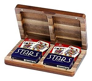 Juego Noce - Estuche de cartas de madera I Juego de cartas poker - Marrón