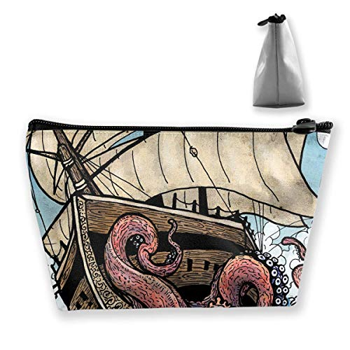 Giant Octopus Catch Ship Womens Travel Cosmetic Bag Portable Toiletry Brush Storage High Capacity Pen Pencil Bags Accessories Sewing Kit Pouch Makeup Carry Case