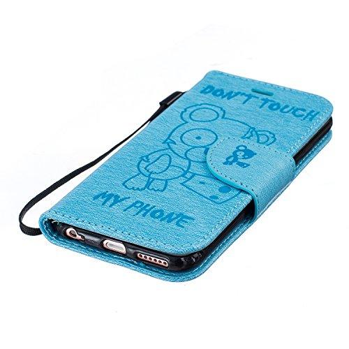 Coque iphone 6S,Coque iphone 6,Coque iphone 6S / 6,ikasus® Coque iphone 6S / 6 Bookstyle Étui Housse en Cuir Case, Motif Gaufrage Tronçonneuse ours Don't Touch Py Phone Motif Etui Housse Cuir PU Porte Bleu