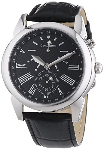 Continuum Herren Armbanduhr XL Automatik Analog Lederarmband Diamanten CT120101