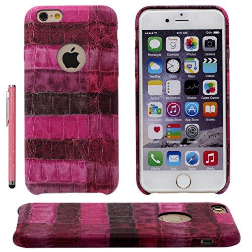 iPhone 7 Coque Case Dur Plastique Gel Housse de Protection Anti Choc Créatif Pierre Style Apparence Mince Poids léger Etui Apple iPhone 7 4.7 inch X 1 stylet rose