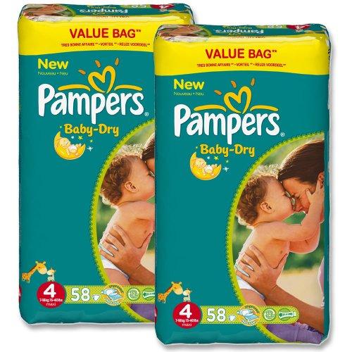 Pampers »Baby-Dry« Gr. 4 7-18 kg Duopack (2 x 58 Stück) 116 Windeln