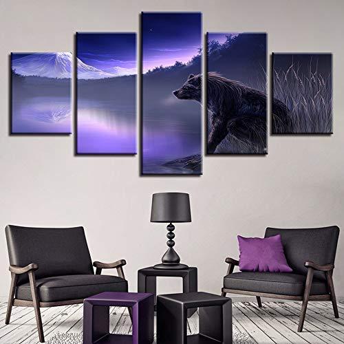 HIMFL Wohnkultur Bilder 5 Panel Mist Lakes Wolf Fantasie Landschaft Gemälde HD-Drucke Spiel Poster Modular Wandkunst,A,30×50×2+30×70×2+30×80×1 - Mist-panel