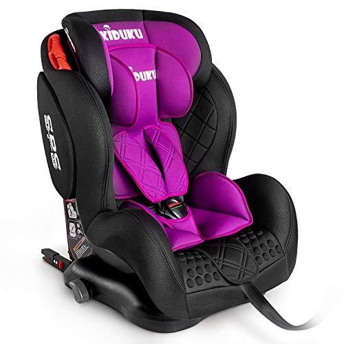 KIDUKU® Kindersitz Autokindersitz mit ISOFIX | Kinderautositz | Autositz mitwachsend | universal | zugelassen nach ECE R44/04 | 9 kg - 36 kg 1-12 Jahre | Gruppe 1/2/3 (Lila)