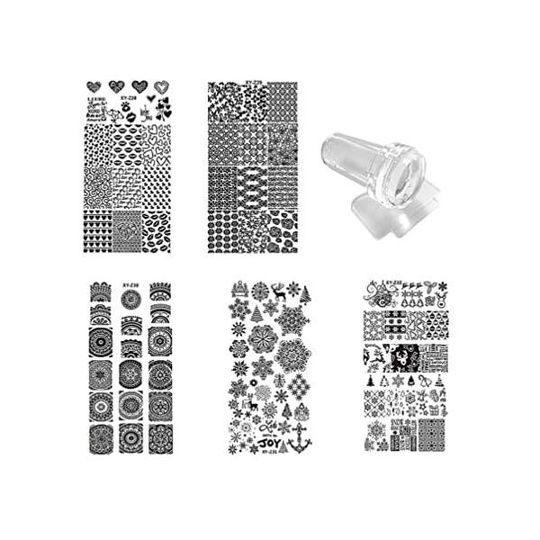 Lurrose 7 piezas kit de placas de estampado de uñas con 1 estampador 1 raspador plantillas de estampado de uñas diy…
