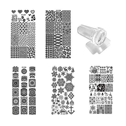Lurrose 7 piezas kit de placas de estampado de uñas con 1 estampador 1 raspador plantillas de estampado...