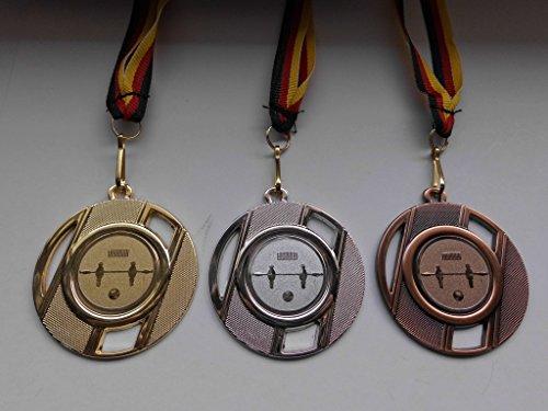 Medaillen Set - aus Metall 50mm - Fußball - Kicker - Tischfußball - Gold - Silber - Bronze - Fussball - Medaillenset - mit Medaillen-Band - mit Alu Emblem - Gold,Silber,Bronce - (e257) -