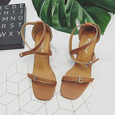 LvYuan Da donna Sandali Comoda PU (Poliuretano) Estate Casual Formale Footing Comoda Fibbia Quadrato Beige Marrone chiaro 2,5 - 4,5 cm beige