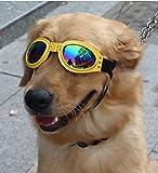 ZeroShop (TM) Wasserdichtes glänzendes schwarzes Hund Sonnenbrille Schutzbrille mit farigen Linse für große Hunde