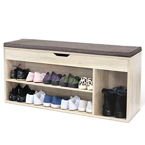 Homfa Schuhschrank mit Sitzkissen Schuhbank Sitzbank Schuhtruhe Sitzkommode Schuhregal Schuhbank Schuhablage mit Stauraum für Flur Diele Verbindungsgang 60x30x45cm (Braun)