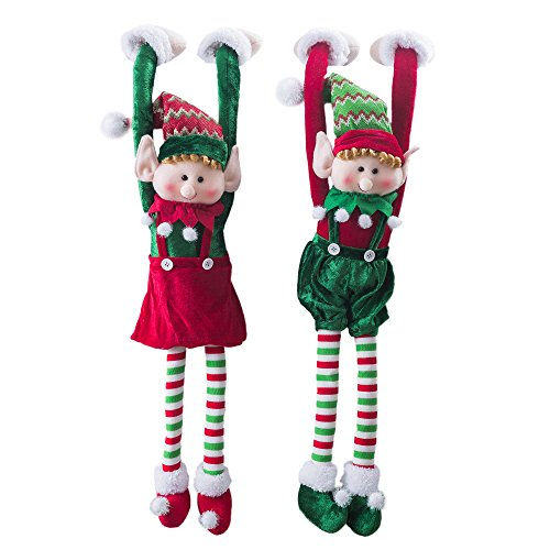 Wewill Marke Adorable Flexible Christmas Elves Puppen Home Decoration auf dem Shelf Hanging Ornament 30-Inch / 75CM, Set von 2 (Rüschen Adorable Top)