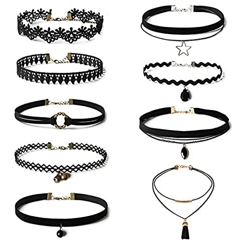 9 10 Pcs Choker Necklace for Women Girls Stretch Gothic Black Velvet Necklace Choker Classic Tattoo Lace Choker Chain (One size,