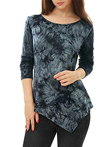 Allegra K Women's Long Sleeves Tie-Dye Handkerchief Hem Tunic Top L Grey