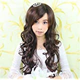 ATOZWIG Women Long Dark Brown Cute Curly Wig for Women+Wigs Cap