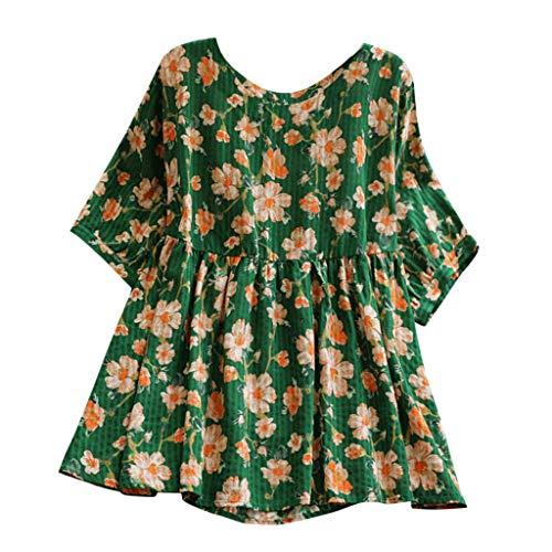 irt,Frauen Casual Plus Size Lose LeinenhüLse Print Button Tanic Shirt Bluse ()