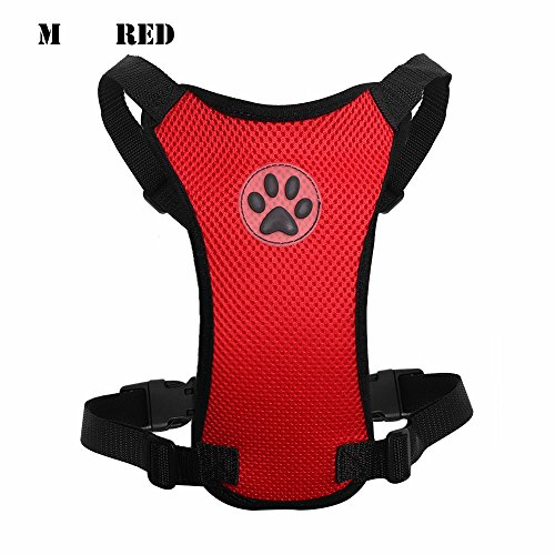 Ruan Pet Harness Journey Breathable Hundesicherheits-Clip Adjustable Air Mesh Restraint Bleihundegeschirr (M, rot)