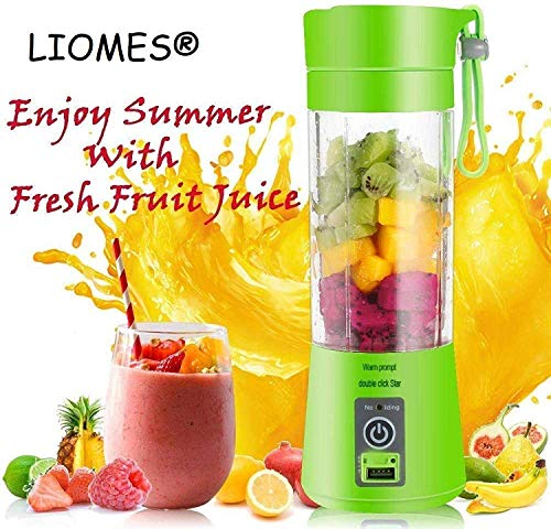 LIOMES Portable USB Electric Blender Juicer Cup Plastic Fruit Juicer Grinder 380ml Juice Blender Fruit Juicer Cup Bottle (Multicolour)