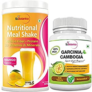 StBotanica Nutritional Meal Replacement Shake - Mango + Garcinia Cambogia 800mg 90 Count - For Weight Management