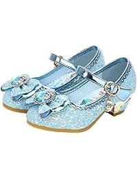 AIYIMEI Disfraz Princesa Zapatos Elsa Zapatos de Lentejuelas Antideslizante Niñas Zapatos de Tacón Velcro Zapatillas de Baile para Vestir Fiesta Cumpleaños Boda Infantil EU24-36