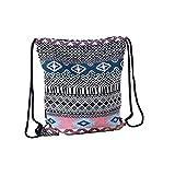 Laat - Mochila de tela para mujeres y niñas con cordones y decoración geométrica, color 6, tamaño 41cm × 34cm
