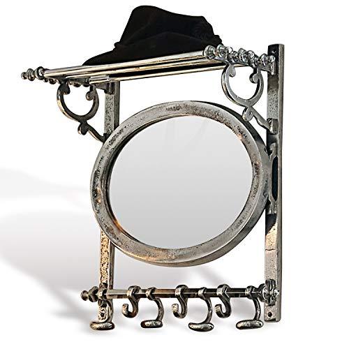 Loberon Garderobe Meyssa, Aluminium/Spiegelglas, H/B/T ca. 53/46 / 23 cm, antiksilber