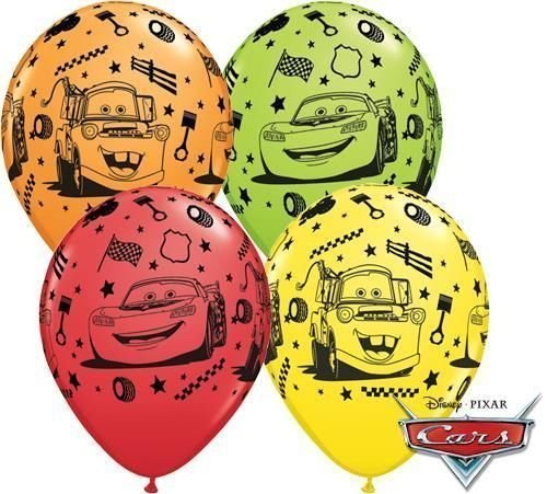 "Image of Disney Cars Lightning McQueen & Mater 11"" Qualatex Latex Balloons x 10"