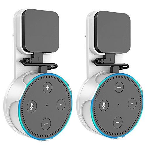 Outlet Wandhalterung mit kurzem Ladekabel für Alexa Echo Dot, platzsparend, einfach zu nehmen abheben, Keine chaotisch Drähte Keine Schrauben, weiß, 2 Pack
