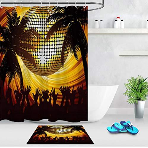 Ball Licht Palme Gold Duschvorhänge ✚ 60X40CM Badezimmer Matte Vorhang wasserdichtes Polyester-Gewebe für Badewanne Wohnkultur ()