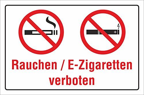 Schild Rauchen E-Zigaretten Vapen Vapes Dampfen verboten 3 mm Alu-Verbund 300 x 200 mm