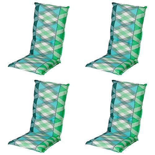 Schwar Textilien Stuhlauflage Hochlehner Gartenstuhlauflage Sitzauflage ca. 8cm Dick 4er Set Grün...