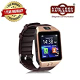 Konarrk Gear Z DZ09 Bluetooth Smart Watch - Sim & Memory Slot - Camera - Android Ios-Gold_Brown