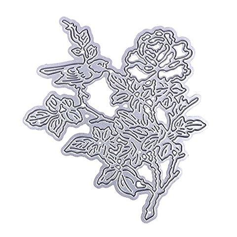 Demiawaking 1Pcs Metall Blume und Vogel Form Stanzschablonen Metall Schneiden Schablonen für DIY Scrapbooking Album, Schneiden Schablonen Papier Karten Sammelalbum Dekor (10)