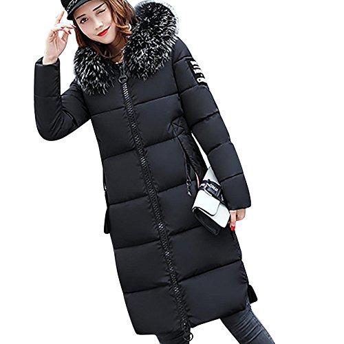 Lange Outwear Damen Sunday Festes Pelzkragen Beiläufiges Dickeres Winter Dünnes unten Lammy Jacken (Schwarz, L) (Baumwolle Verdicken Solide)