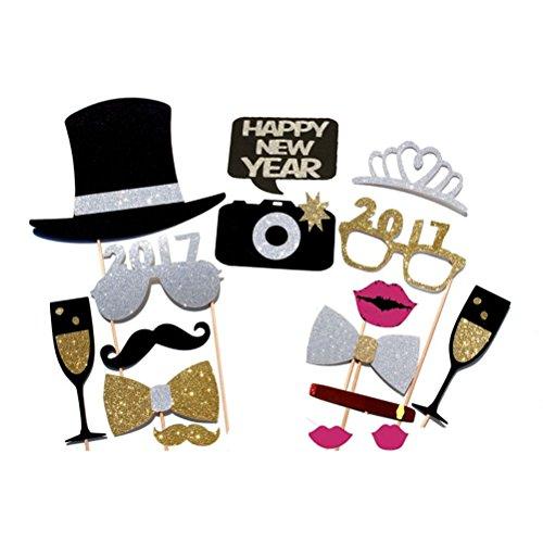 vorcool 16pcs 2017Foto Booth Zubehör Brille Schnurrbart Lippen rot Bow Ties auf Stöcke für New Year Party Decor
