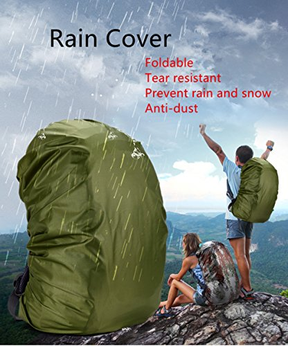Macbag Wanderrucksack mit Regenhülle 40L 55L Wasserdichter Rucksack Großer Kapazitätsrucksack, ideal für Camping, Trekking und Bergsteigen Gelb
