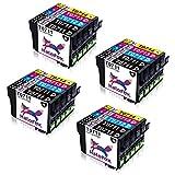 HaloFox 20 Kompatibel Tintenpatronen T0715 (T0711 T0712 T0713 T0714) Ersetzen für Epson Stylus D78 D92 D120 SX115 SX200 SX205 SX209 SX210 SX215 SX218 SX400 SX405 SX515W SX510W DX4000 DX4050 DX4400 DX4450 DX6050 DX7000F DX7400 DX8400 SX405WiFi BX600FW Drucker