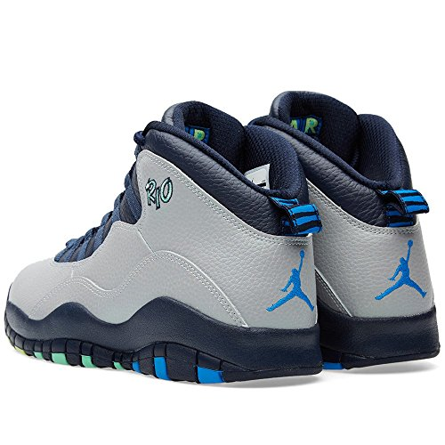 Nike Air Jordan Retro 10, Chaussures de Sport-Basketball Homme, Gris gris - Gris (Wolf Grey / Pht Bl-Obsdn-Grn Glw)