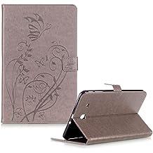 """Custodia Per Samsung Galaxy Tab E 9.6"""" SM-T560 SM-T561 Elegante Farfalle e Fiori Disegno,Funyye Cover e Penne Capacitive per Samsung Galaxy Tab E 9.6"""" SM-T560 SM-T561 Portafoglio Flip Libro Pelle Copertura [Supporto Stand / Porta Carte / Chiusura Magnetica] Wallet Case Protezione Casa - Grigio"""