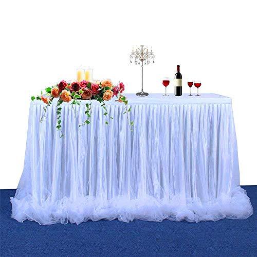 【Versione di aggiornamento】Gonna da tavolo Tulle Gonna lunga Tutu in tulle elegante Gonna Tovaglia per tavolo rotondo e rettangolare, per feste, matrimoni, decorazioni e baby shower (bianco)