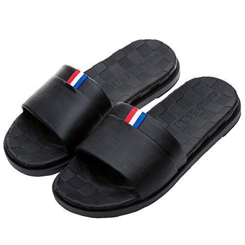 DogHaccd pantofole,Bagno cool pantofole estate femmina interni bagno scivolosa giovane home pantofole uomini piatta con pantofole home estate pantofole Nero (maschio)