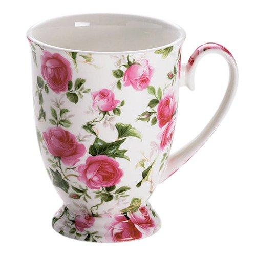 Maxwell & Williams S56958 Royal Old England Becher auf Fuß, Kaffeebecher, Tasse, Motiv: Frühlingsrose, in Geschenkbox, Porzellan